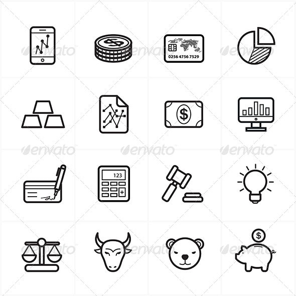 Flat Line Icons For Finance Icons  - Business Icons