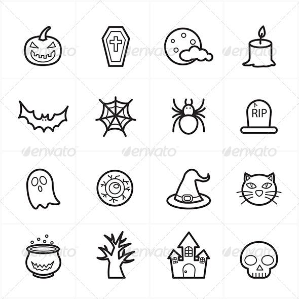 Flat Line Icons For Halloween Icons