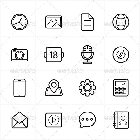 Flat Line Icons For Media Icons and Communication  - Media Icons