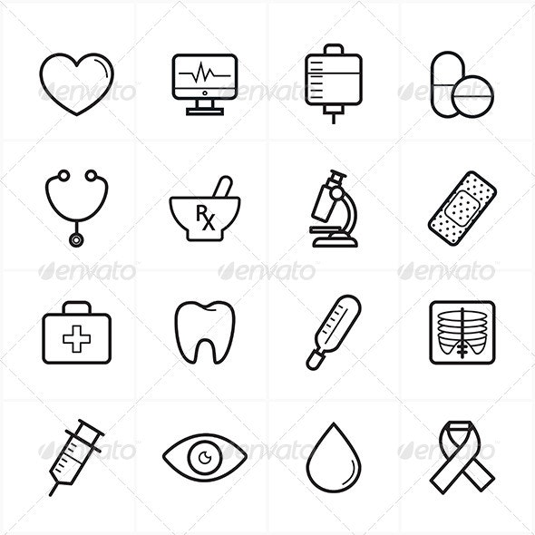 Flat Line Icons For Medical Icons and Healthcare - Icons