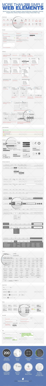 Simple 200 Web Elements - User Interfaces Web Elements