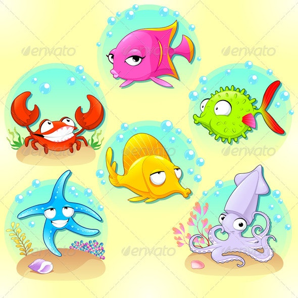 Funny Sea Animals.  - Animals Characters