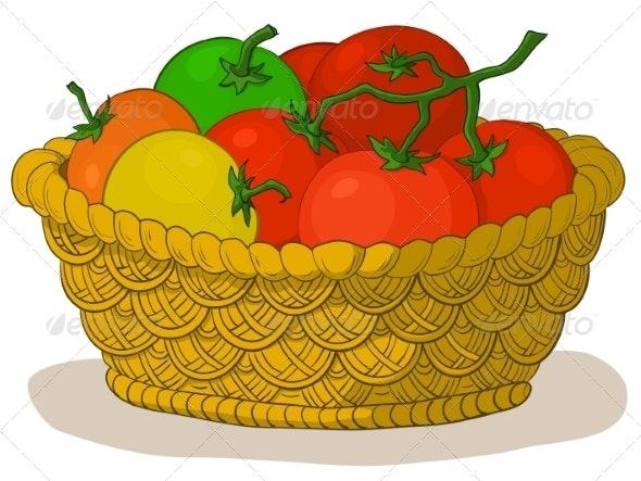 Basket with Tomatoes - Food Objects