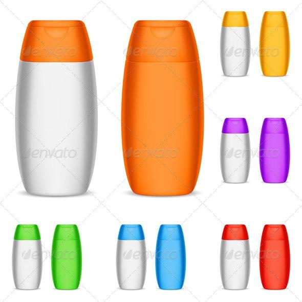 Color Shampoo Bottles - Objects Vectors