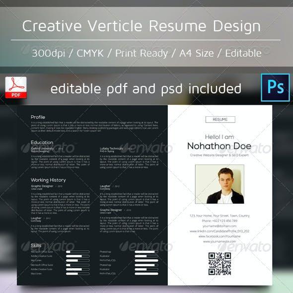 Creative Verticle Resume Design