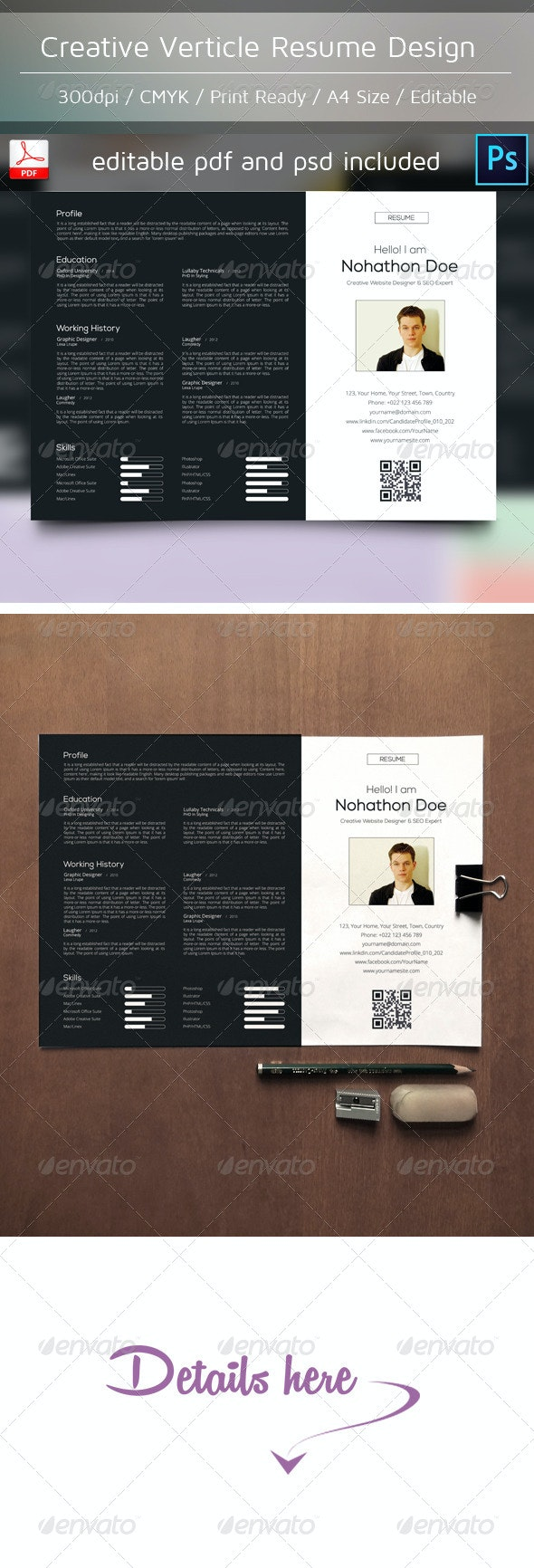 Creative Verticle Resume Design - Resumes Stationery