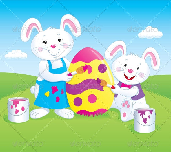Bunnies Painting an Easter Egg - Seasons/Holidays Conceptual