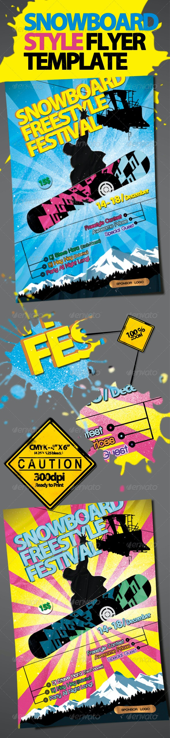 Snowboard Style Flyer Template - Sports Events