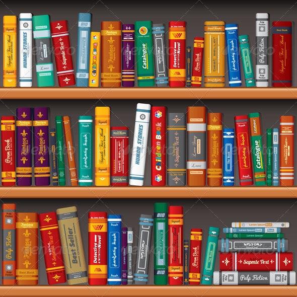 Library Bookshelves - Backgrounds Decorative