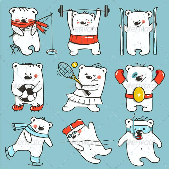 Cartoon Sport Bears in Action Collection