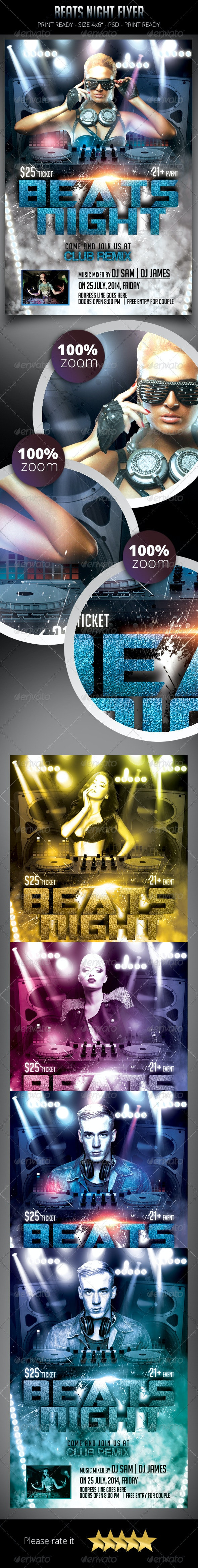 Beats Night Flyer Template - Clubs & Parties Events