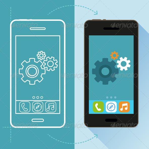 Vector App Development Concept in Flat Style