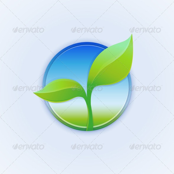 Vector Round Badge with Green Leaves - Conceptual Vectors