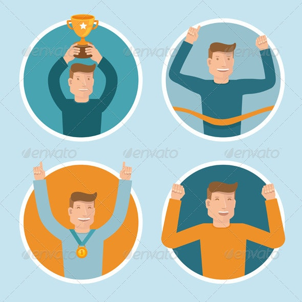 Vector Flat Illustrations - Victory Concepts - People Characters