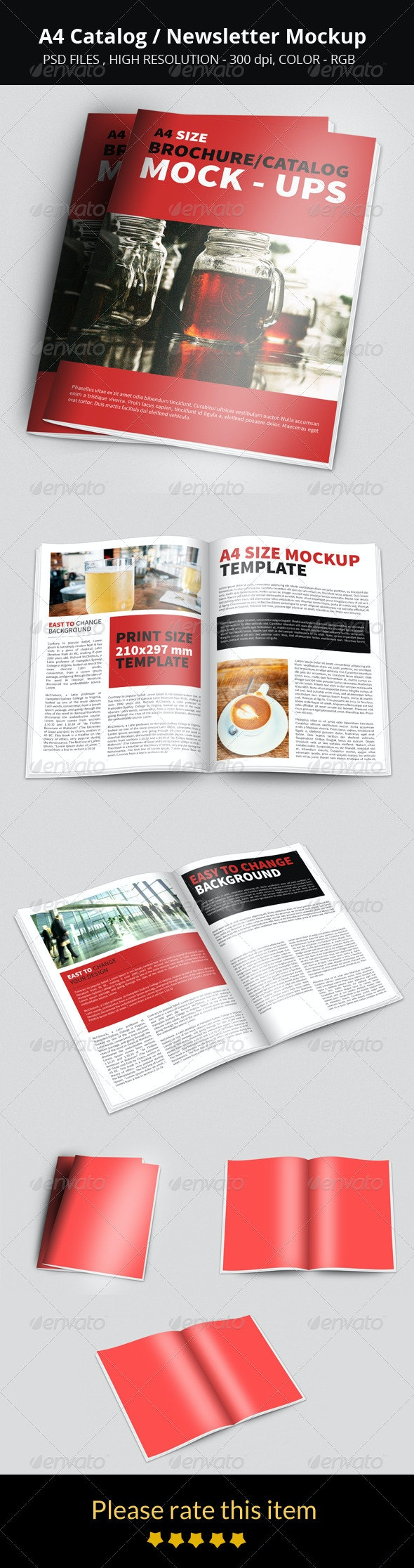 A4 Catalog/Newsletter Mockup - Product Mock-Ups Graphics