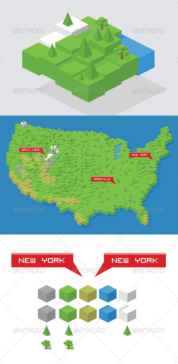 Isometric Cube Map Builder Kit + USA Map - Landscapes Nature