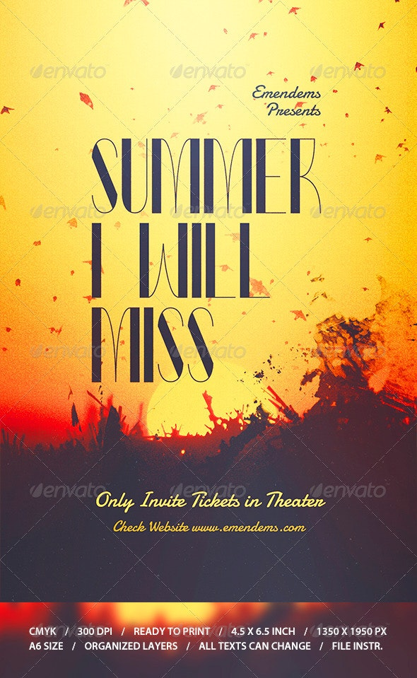Summer I Will Miss Flyer Template  - Miscellaneous Events