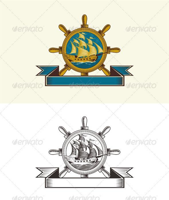 Vintage Nautical Badge - Retro Technology