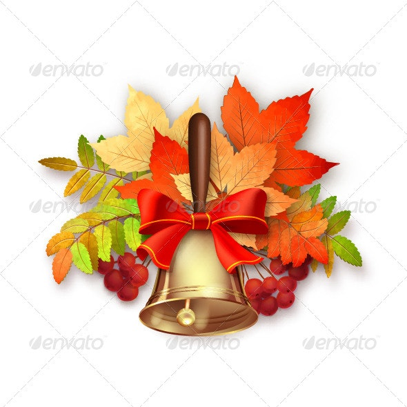Autumn Vector Fall Leaves and Bell - Man-made Objects Objects