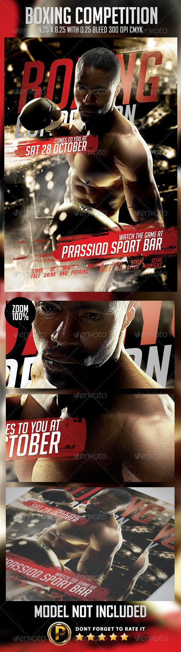 Boxing Competition Flyer Template - Sports Events