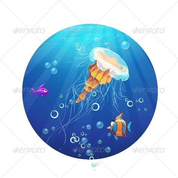 Cartoon Jellyfish and Sea Fish