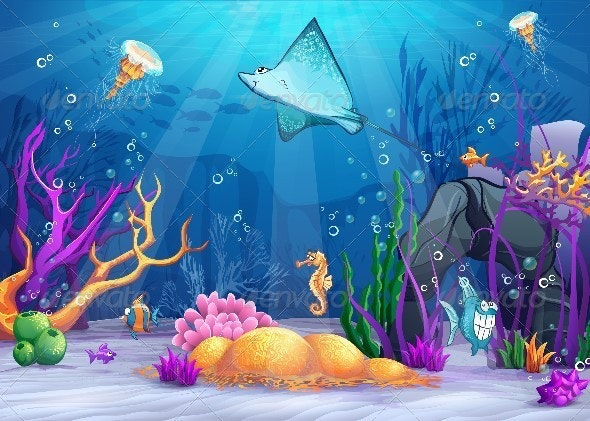 Illustration of the Underwater World  - Animals Characters