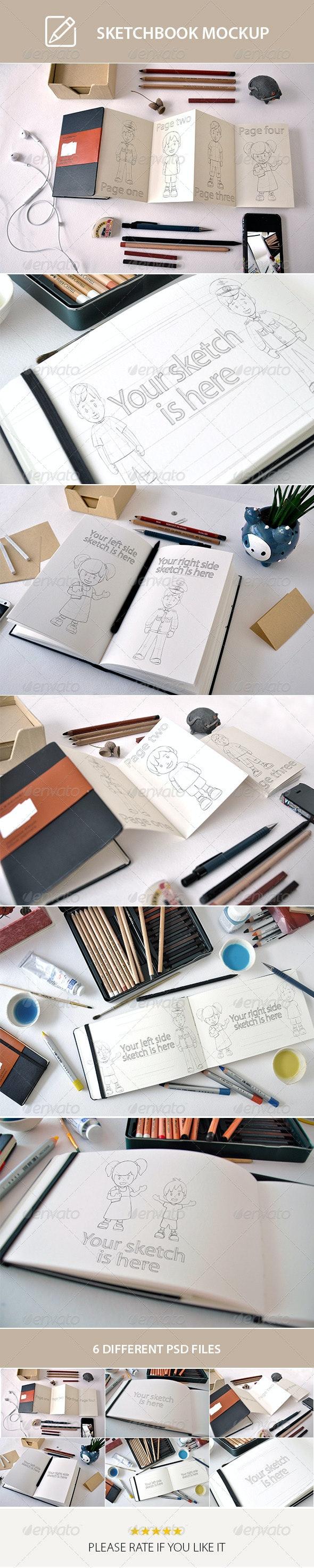 Scetchbook Mock-Up - Product Mock-Ups Graphics