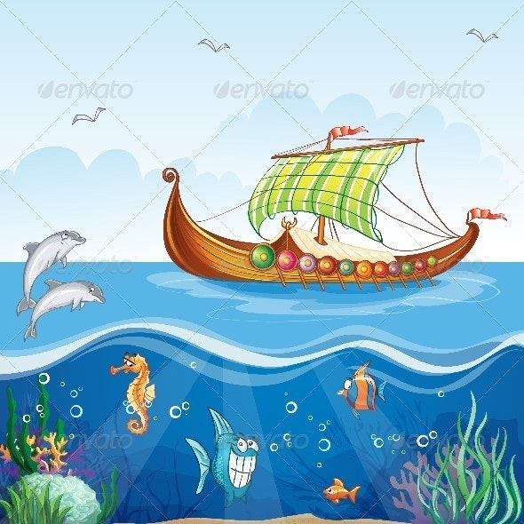 Water World with Viking Ship - Travel Conceptual