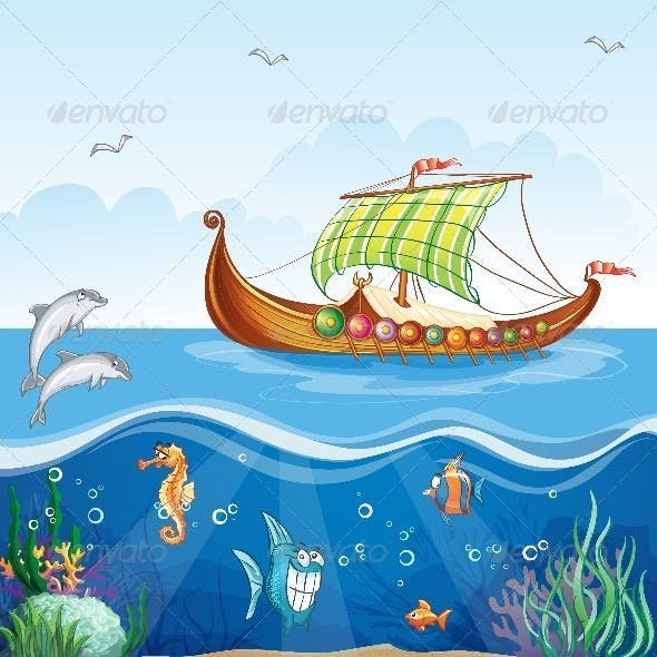Water World with Viking Ship