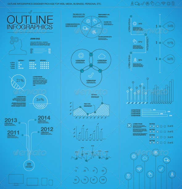 Outline Infographic Business Vector Elements - Infographics
