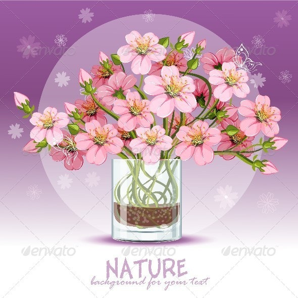 Background with Cherry Blossom in a Glass - Backgrounds Decorative