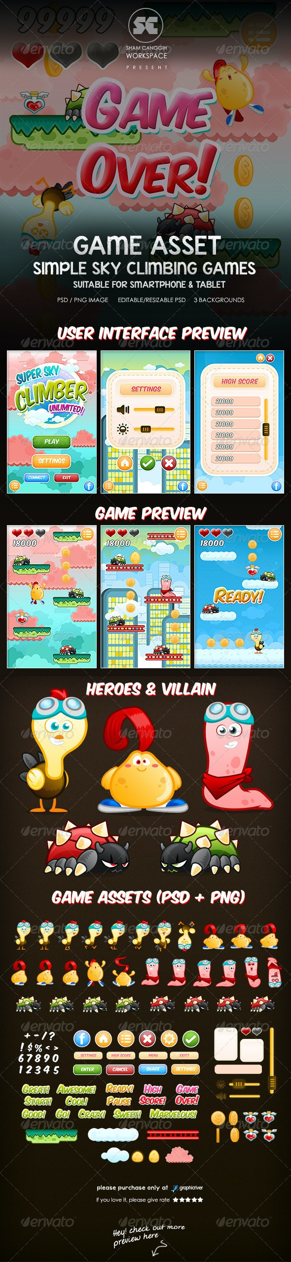 Sky Climber Game Assets - Game Kits Game Assets