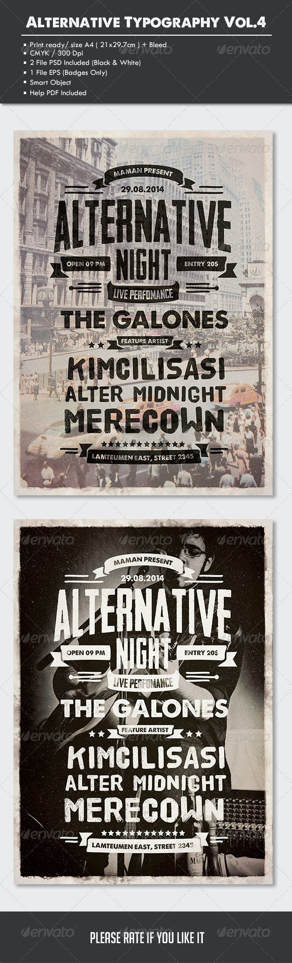 Alternative Typography Flyer/Poster Vol.4 - Concerts Events