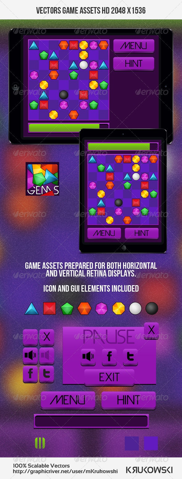 Gems Puzzle Game Kit - Game Kits Game Assets