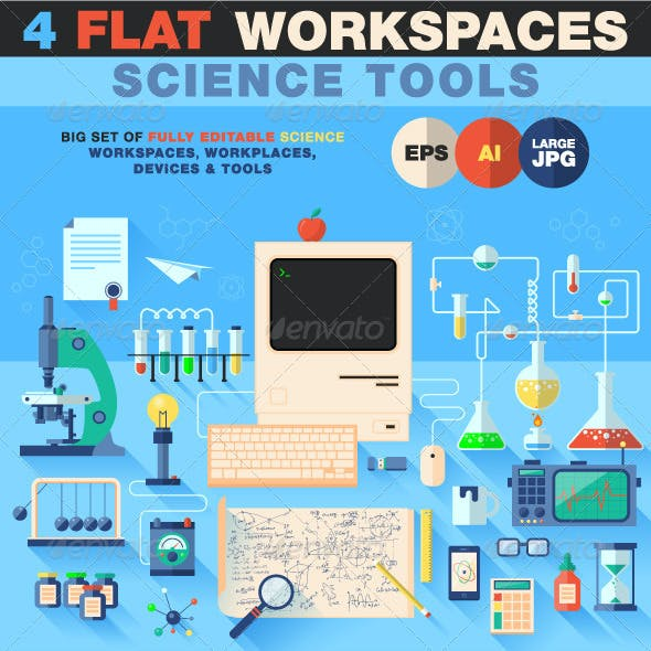 Science Workspace Devices in Flat Design