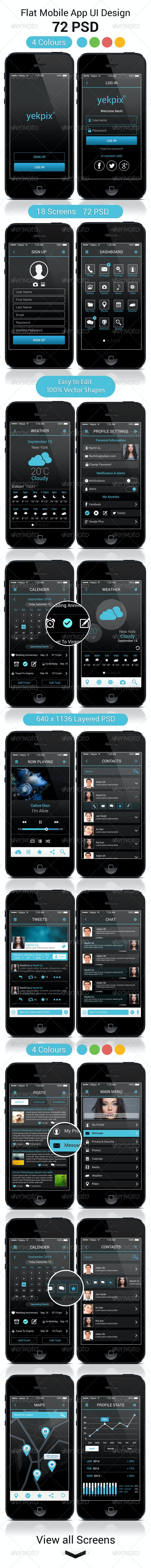 YekPix Flat Mobile App UI User Interfaces PSD - User Interfaces Web Elements