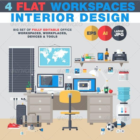 Interior Design Flat Workplace