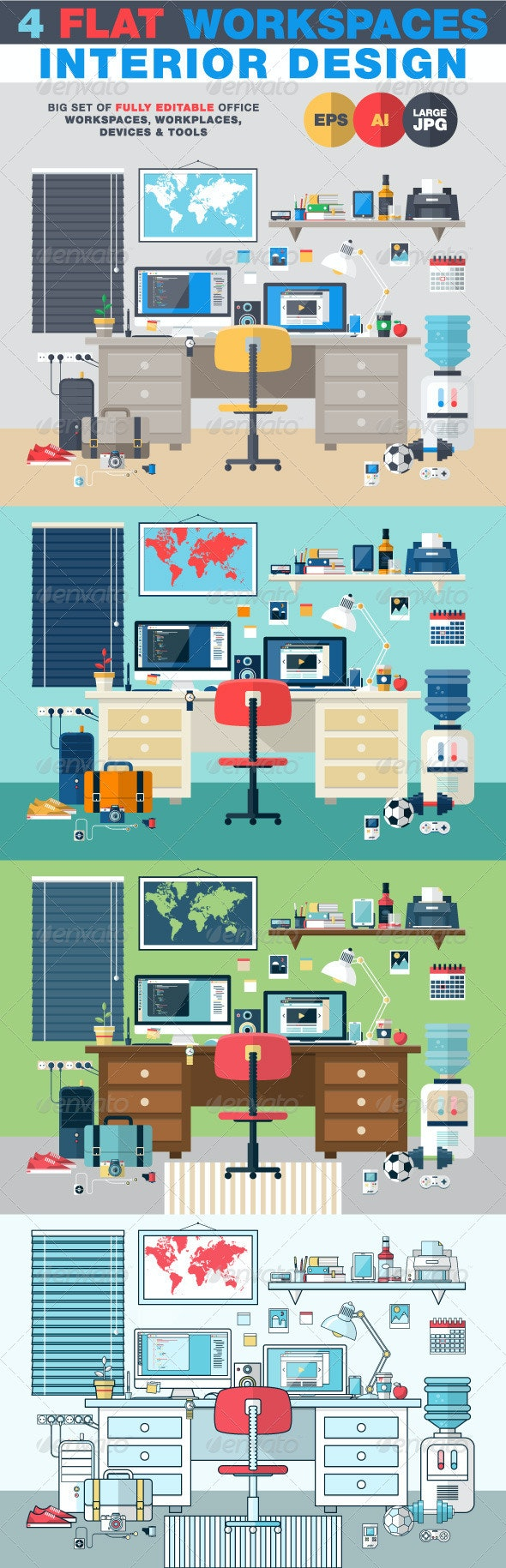 Interior Design Flat Workplace - Objects Vectors