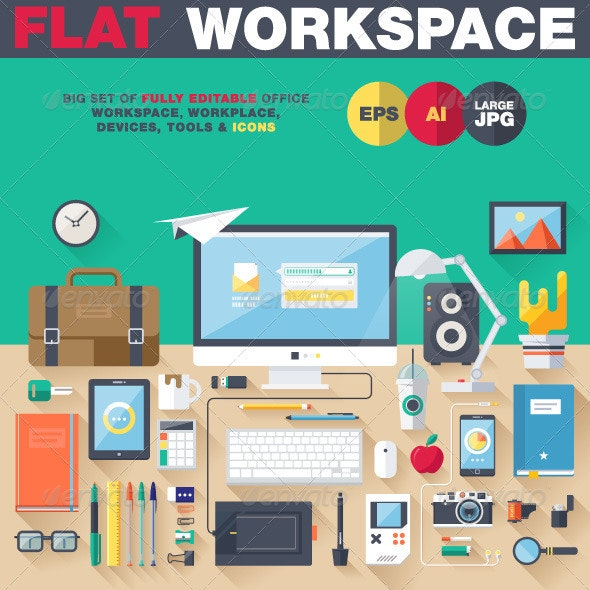 Office Workspace - Objects Vectors