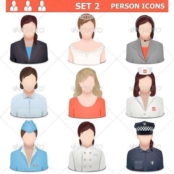 Vector Person Icons Set 2 - People Characters