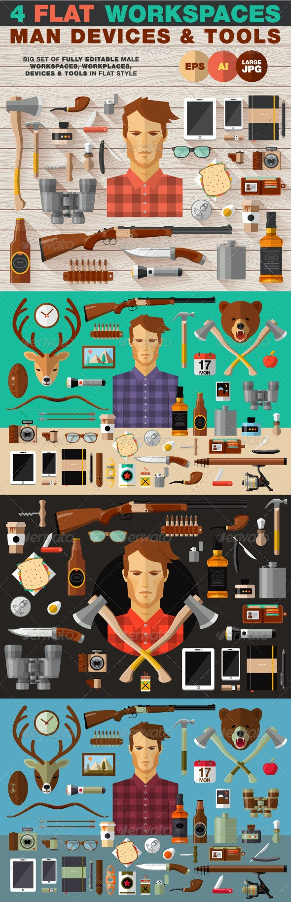 Male Devices & Tools in Flat Style - Objects Vectors