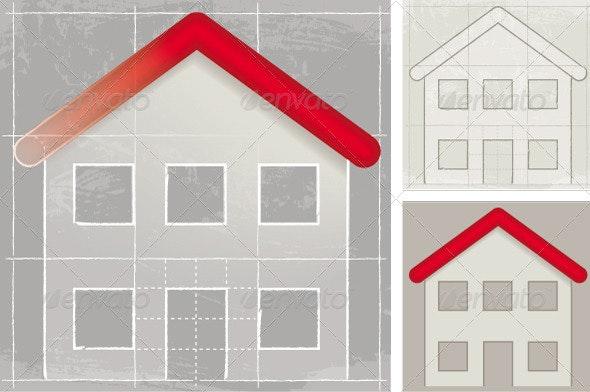 House, Sketch - Decorative Symbols Decorative