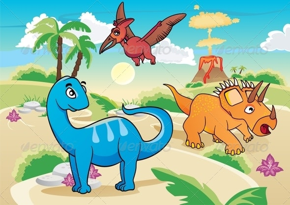 Cartoon Dinosaurs - Animals Characters
