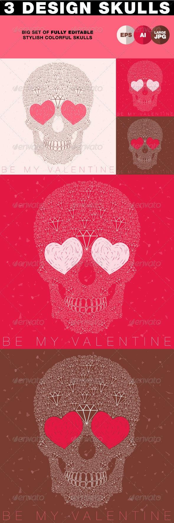 Skull with Heart Eyes & Diamonds - Characters Vectors