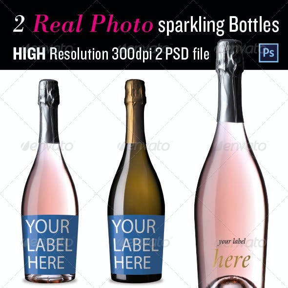 Sparkling Wine Bottles Mock up