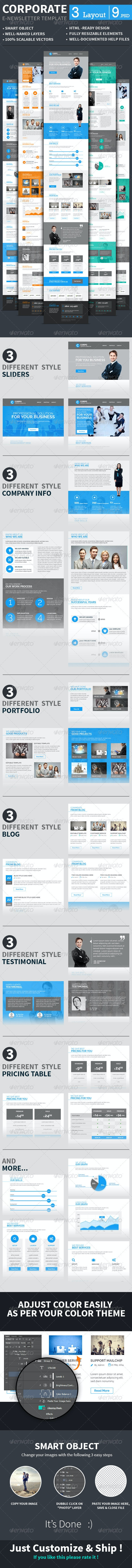 Corporate E-newsletter Template - E-newsletters Web Elements