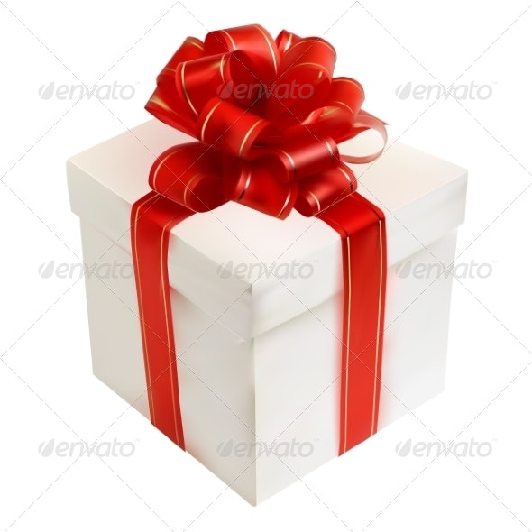 Gift Box with Red Bow  - Christmas Seasons/Holidays
