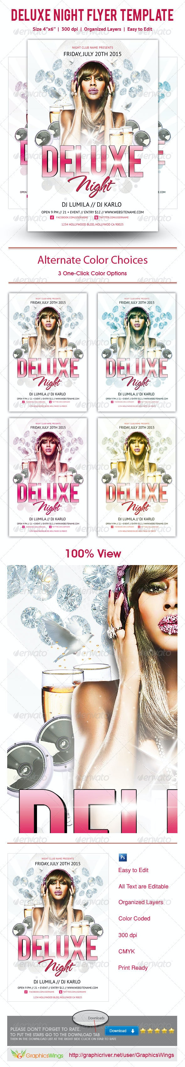 Deluxe Night Party Flyer Template - Events Flyers