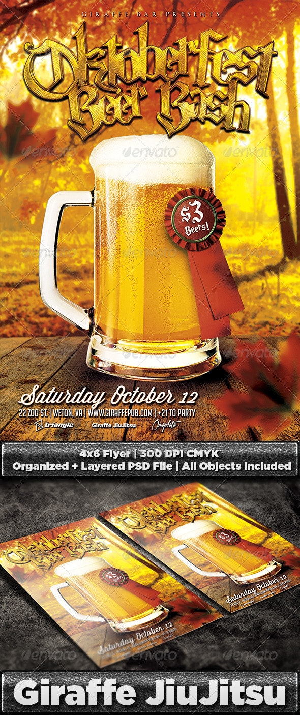 Oktoberfest Beer Bash Flyer Template - Holidays Events