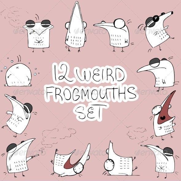 12 Weird Frogmouths Set